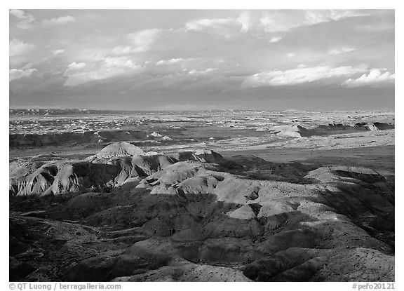 Painted desert seen from Chinde Point, stormy sunset. Petrified Forest National Park (black and white)