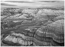 Blue Mesa basin at dusk. Petrified Forest National Park ( black and white)