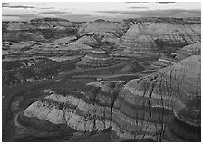 Blue Mesa basin at sunset. Petrified Forest National Park ( black and white)