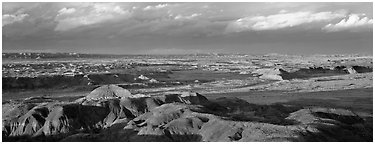 Evening on Painted Desert. Petrified Forest National Park (Panoramic black and white)