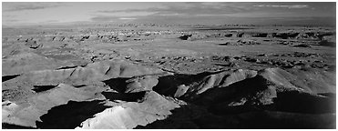 Painted Desert scenery. Petrified Forest National Park (Panoramic black and white)