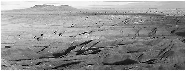 Ridges of Painted Desert. Petrified Forest National Park (Panoramic black and white)