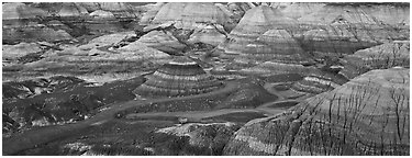 Blue Mesa colored badlands. Petrified Forest National Park (Panoramic black and white)