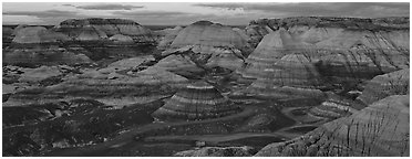 Badland scenery at dusk, Blue Mesa. Petrified Forest National Park (Panoramic black and white)