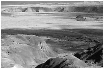 Painted desert seen from Chinde Point, morning. Petrified Forest National Park, Arizona, USA. (black and white)