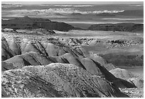Painted desert seen from Lacey Point, morning. Petrified Forest National Park, Arizona, USA. (black and white)