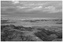 Painted desert seen from Chinde Point, dusk. Petrified Forest National Park ( black and white)