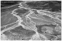 Dendritic drainage patterns, Blue Mesa, mid-day. Petrified Forest National Park ( black and white)