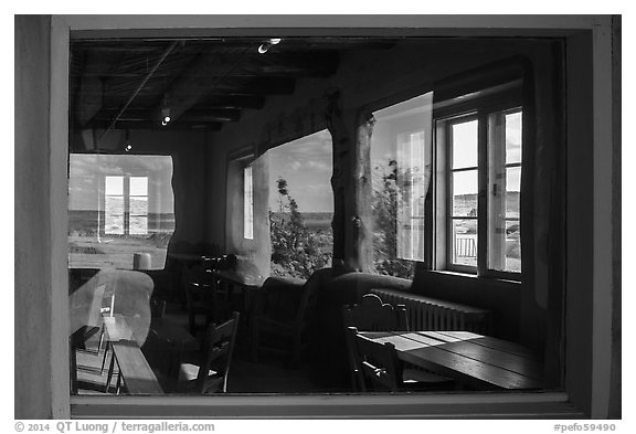 Painted Desert, Painted Desert Inn window reflexion. Petrified Forest National Park (black and white)