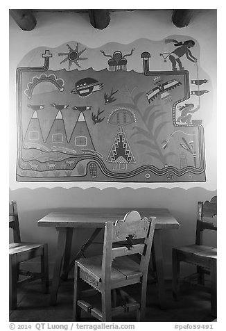Murals on dining room by Hopi artist Fred Kabotie, Painted Desert Inn. Petrified Forest National Park (black and white)