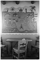 Murals on dining room by Hopi artist Fred Kabotie, Painted Desert Inn. Petrified Forest National Park ( black and white)