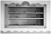 Shelf on dining room with American Indian designs, Painted Desert Inn. Petrified Forest National Park ( black and white)