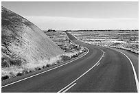 Road near the Flattops. Petrified Forest National Park ( black and white)
