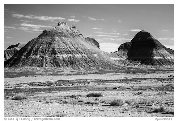 Conical hills carved from blue and red mudstone by erosion. Petrified Forest National Park (black and white)