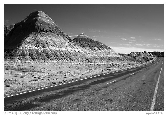 Road, The Tepees. Petrified Forest National Park (black and white)