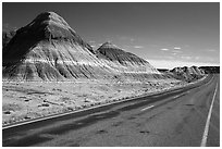 Road, The Tepees. Petrified Forest National Park ( black and white)