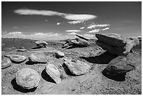 Concretion rocks, Painted Desert. Petrified Forest National Park ( black and white)