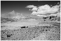 Badlands and petrified wood, Black Forest Wilderness. Petrified Forest National Park ( black and white)