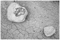 Ground view with concretions and red cracked mud. Petrified Forest National Park ( black and white)