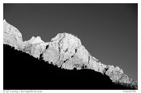 Peaks and shadows. Zion National Park (black and white)