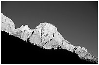 Peaks and shadows. Zion National Park, Utah, USA. (black and white)