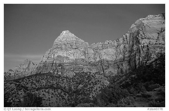 Watchman, sunset. Zion National Park (black and white)