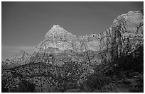 Watchman, sunset. Zion National Park, Utah, USA. (black and white)