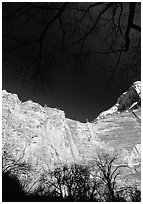 Temple of Sinawava. Zion National Park, Utah, USA. (black and white)