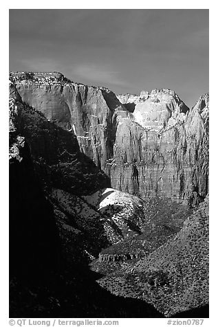 Streaked wall seen from Canyon Overlook. Zion National Park (black and white)