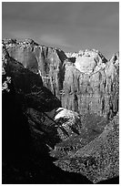 Streaked wall seen from Canyon Overlook. Zion National Park ( black and white)