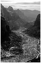 Zion Canyon from  summit of Angel's landing, mid-day. Zion National Park ( black and white)