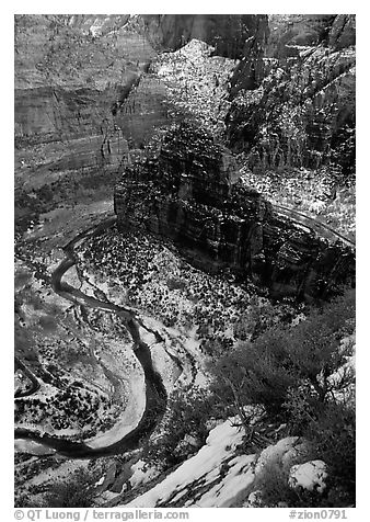 Virgin river and Canyon walls from the summit of Angel's landing in winter. Zion National Park (black and white)