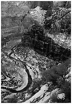 Virgin river and Canyon walls from the summit of Angel's landing in winter. Zion National Park, Utah, USA. (black and white)
