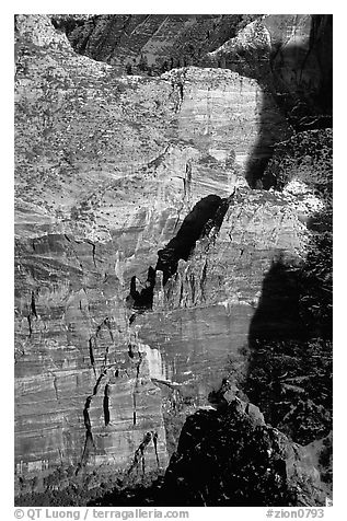 Rock walls near Hidden Canyon seen from Angel's landing, late afternoon. Zion National Park (black and white)