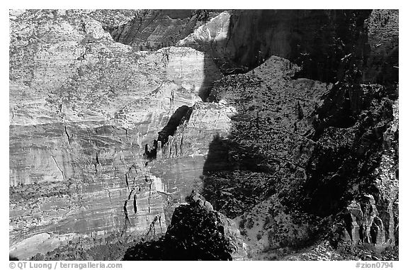 Cliffs near Hidden Canyon from above, late winter afternoon. Zion National Park (black and white)