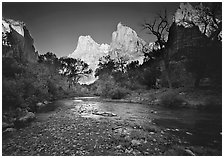 Virgin River and Court of the Patriarchs at sunrise. Zion National Park ( black and white)