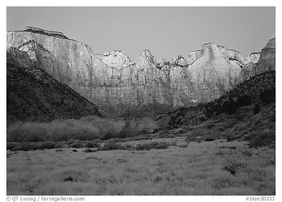 West temple view, sunrise. Zion National Park (black and white)