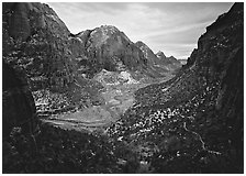 Zion Canyon from  West Rim Trail, stormy evening. Zion National Park, Utah, USA. (black and white)