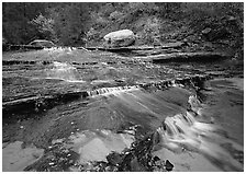 Terraced cascades in autumn, Left Fork of the North Creek. Zion National Park ( black and white)