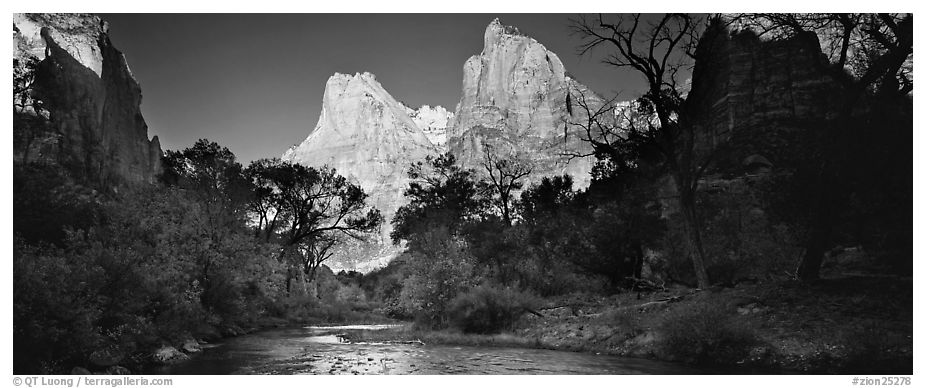 Court of the Patriarchs and Virgin River. Zion National Park (black and white)