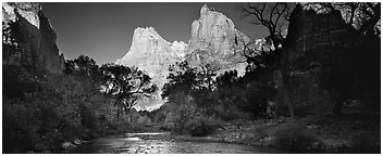 Court of the Patriarchs and Virgin River. Zion National Park (Panoramic black and white)