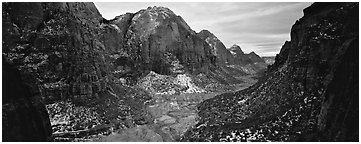 Zion Canyon delimited by tall limestone walls. Zion National Park (Panoramic black and white)