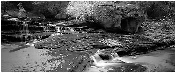North Creek cascading over terraces in autumn. Zion National Park (Panoramic black and white)