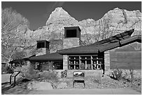 Zion Visitor Center. Zion National Park, Utah, USA. (black and white)