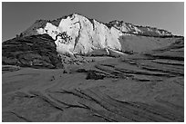 Swirls and cliffs at sunrise, Zion Plateau. Zion National Park, Utah, USA. (black and white)