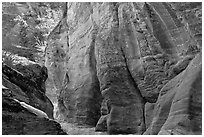Rocks sculptured by water, Zion Plateau. Zion National Park, Utah, USA. (black and white)
