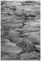 Water flowing over stones in Virgin River. Zion National Park ( black and white)
