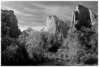 Court of the Patriarchs in autumn. Zion National Park ( black and white)