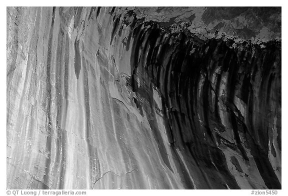 Striated rock in  base alcove of  Double Arch Alcove, Middle Fork of Taylor Creek. Zion National Park (black and white)