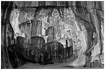 Striated rock wall, Double Arch Alcove, Middle Fork of Taylor Creek. Zion National Park ( black and white)